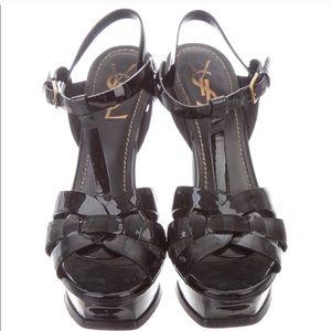 YVES SAINT LAURENT Blk Patent Platform Sandals